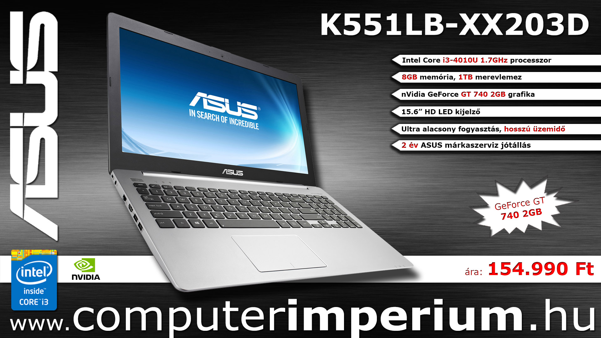 ASUS K551LB-XX203D notebook, laptop (K551LB-XX203D), 8GB RAM-mal!!!