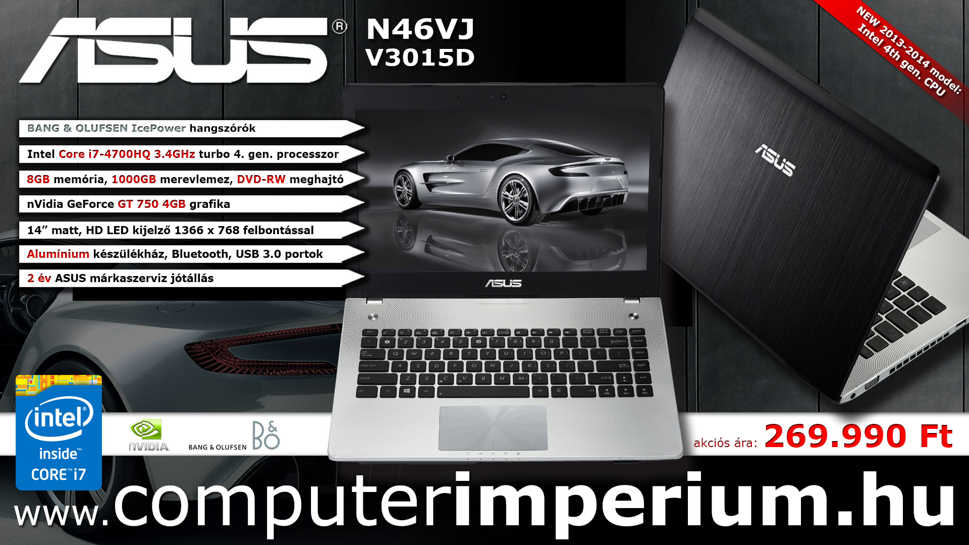 ASUS N46JV-V3015D notebook, laptop (N46JV-V3015D_8GB), 8GB RAM-mal!!!