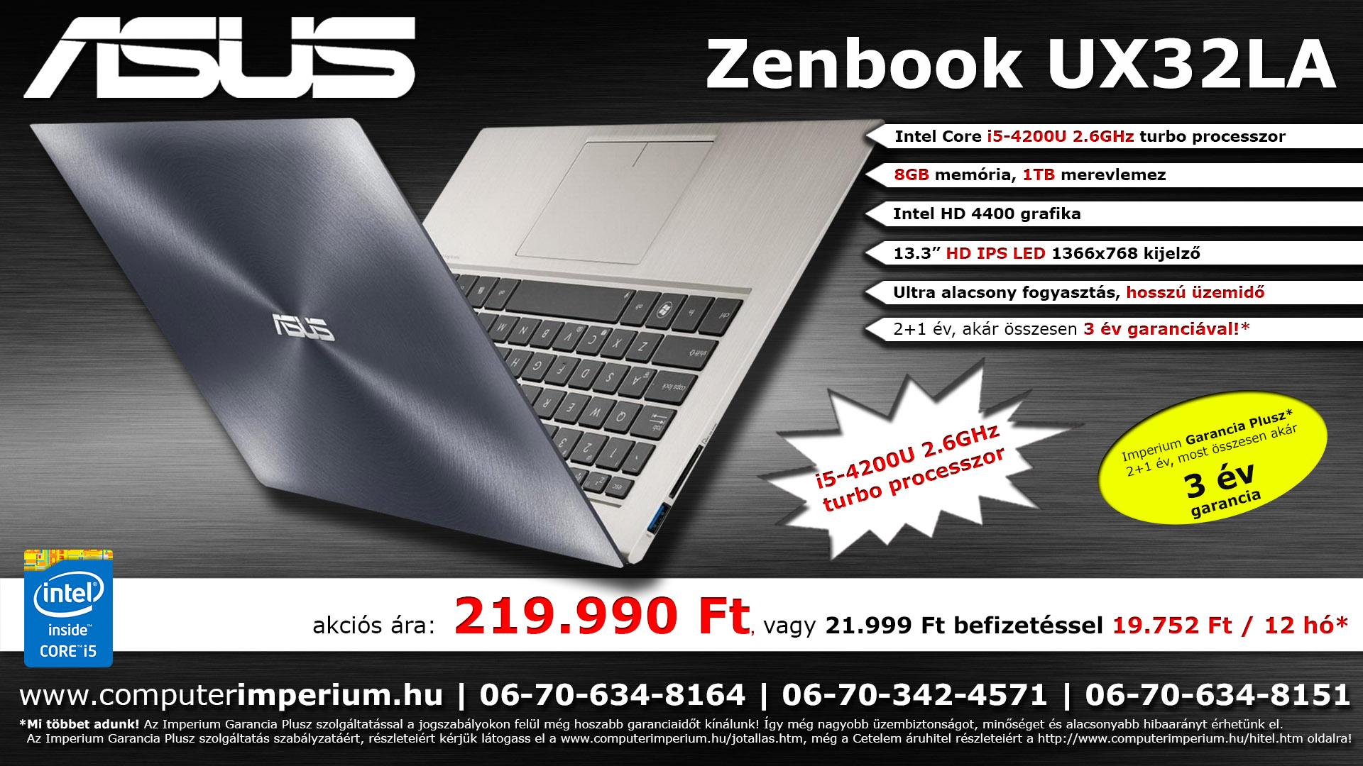 ASUS UX32LA-R3053D notebook, laptop (UX32LA-R3053D), 8GB RAM-mal!!!