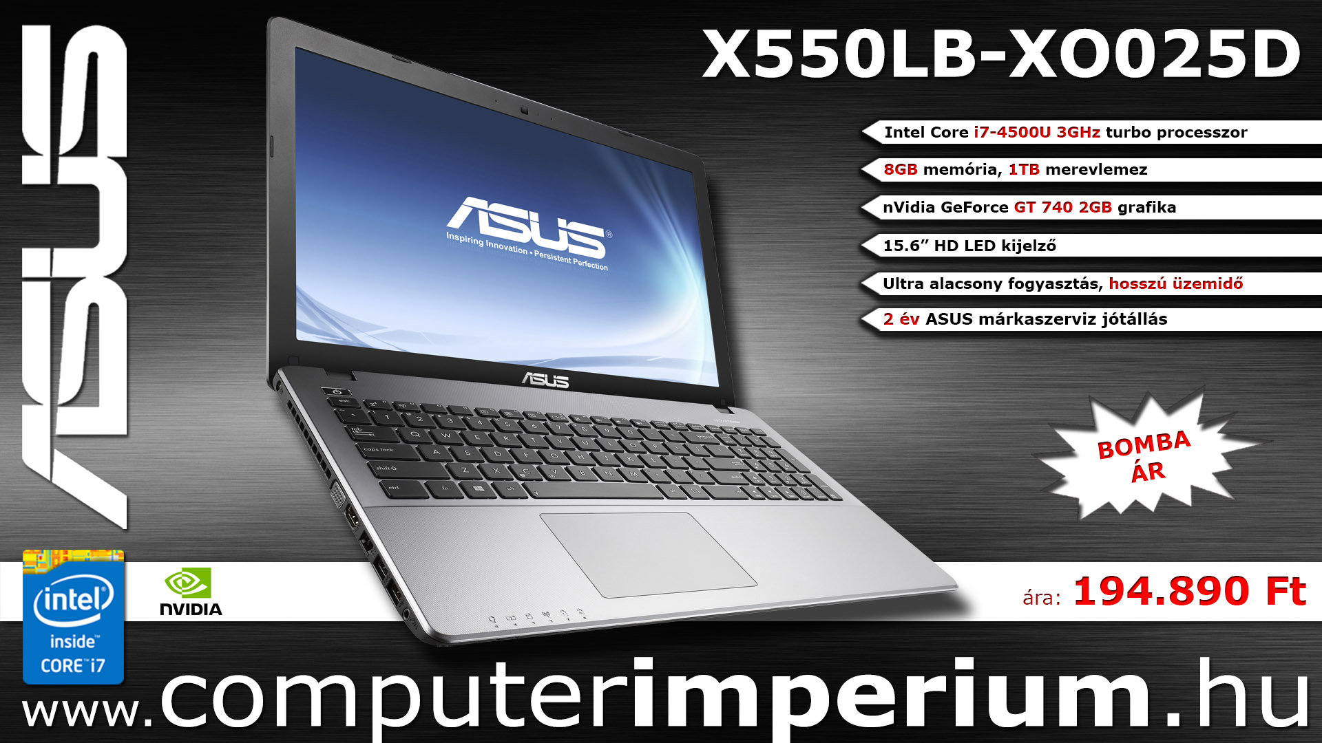 ASUS X550LB-XO025D notebook, laptop (X550LB-XO025D ), 8GB RAM-mal!!!