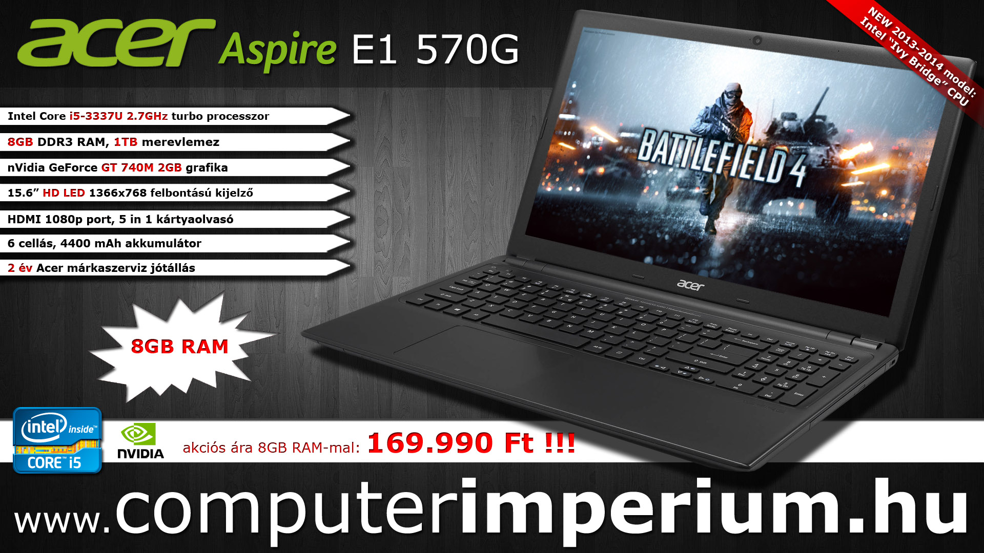 Acer Aspire E1 570G notebook, laptop (NX.MESEU.006_8GB), 8GB RAM-mal!!!