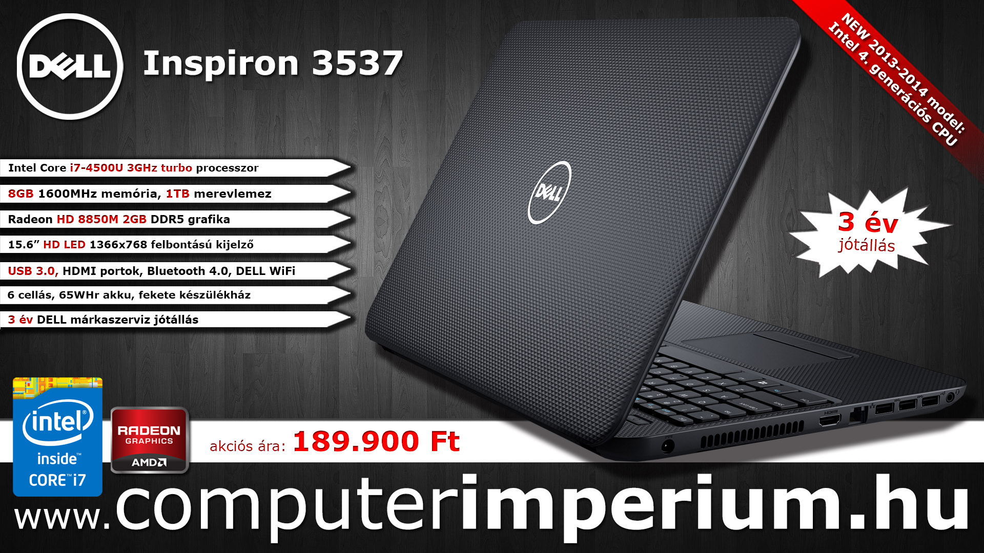 DELL Inspiron 3537 notebook, laptop (157813), 8GB RAM-mal!!!