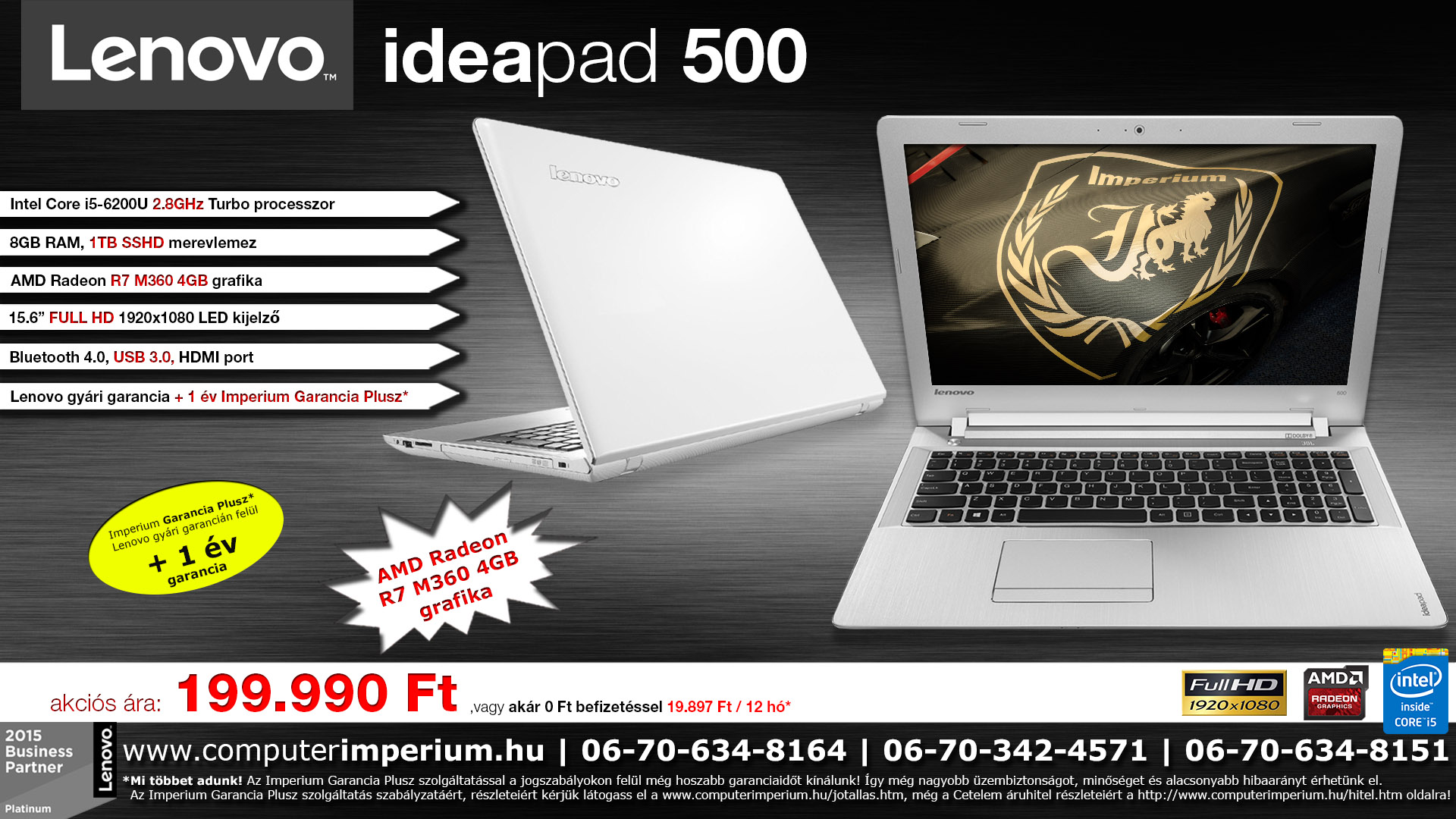 Lenovo IdeaPad 500 notebook, laptop (80NT00N0HV_8GB), 8GB RAM-mal!!!