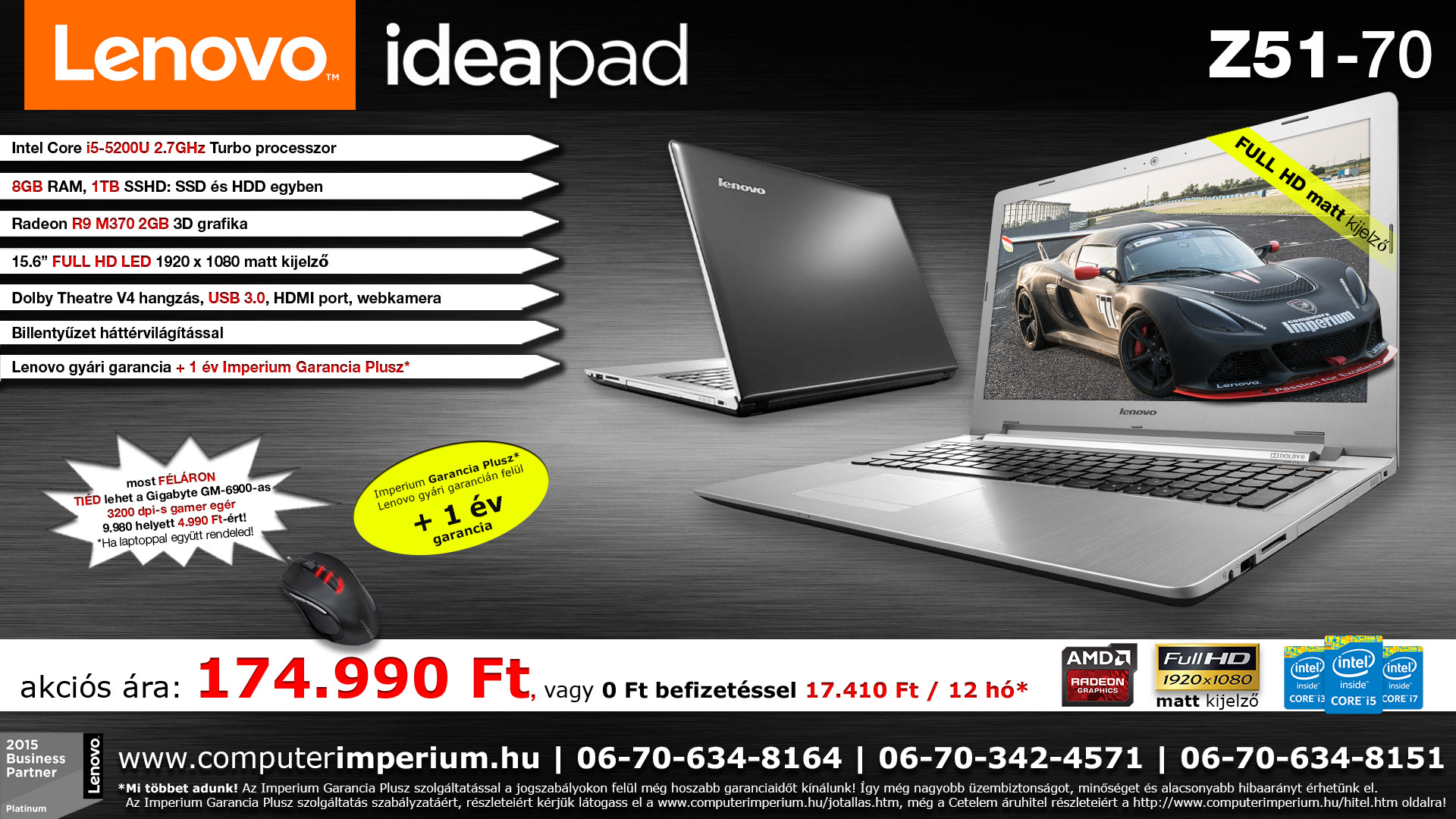 Lenovo IdeaPad Z51-70 notebook, laptop (80K601B5HV_8GB), 8GB RAM-mal!!!