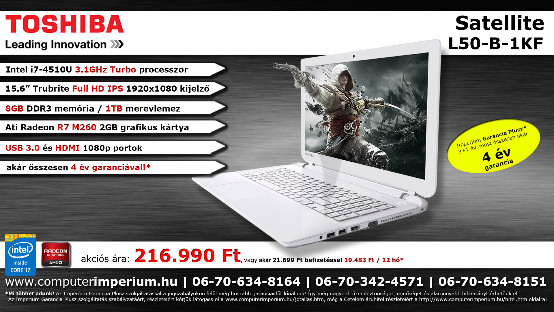 Toshiba Satellite L50-B-16C notebook, laptop (PSKTCE-00D006HU), 8GB RAM-mal!!!